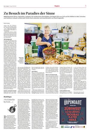Artikel im Bieler Tagblatt vom Freitag 3.8.18, Verfasst von Frau Denise Gaudy, Foto von Mathias Käser