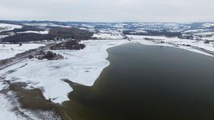 Hiver 2017, on constate la diminution importante du niveau de l'eau.
