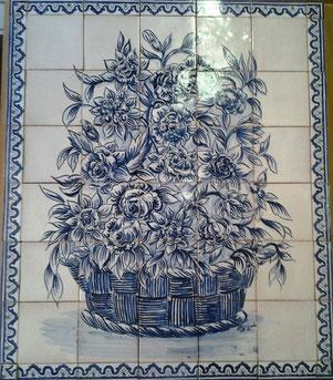 """Blumenpracht - blau-weiß"" Art.-Nr.: PN-115, Größe: 93x79cm"