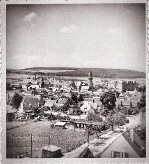 Blick auf die untere Escher Straße und abgehende Schützenhausstraße ca. 1962