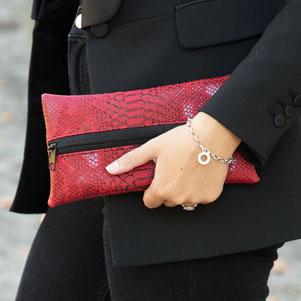 Trousse avec motifs géométriques couleur argent - fait main