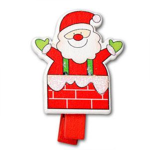 Weihnachtsmann Holzklammer