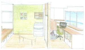 SOHO用の仕事空間と打合せスペース