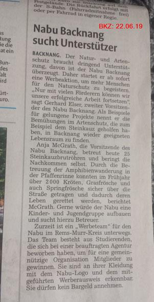Artikel in der Backnanger Kreiszeitung vom 22.06.19