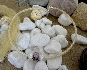 Pferdehaar-Collier, Kette aus Pferdehaar - Murano Glas Perle