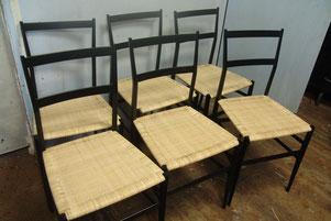 restauration de 6 chaises cannées superlégères Cassina