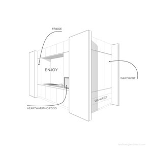 Room Divider Perspective Sketch by Heidi Mergl Architect
