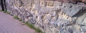 Steinfraß, Steinkrebs, Sandsteinschäden, Sandstein zerfällt, Frostschäden, Frostschaden, Abplatzungen, Auswaschung, Zahn der Zeit,  Verwitterung, Sandstein, Sandsteinschutz, Stephansdom, Sandsteinsockel, Steinfraß, Steinkrebs,