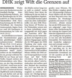 Deutscher Amateur-Pokal dhk Flensborg vs SG Wittorf/FTN, Holsteinischer Courier
