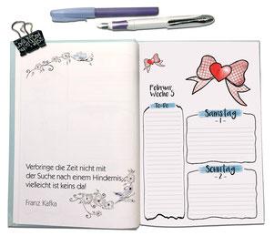 Agenda Jungo-Grafik mit Spruch und Terminfeldern, offenliegend