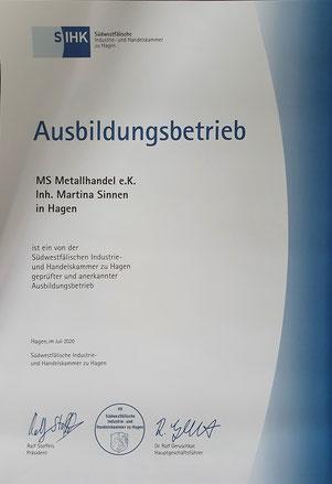Ausbildung bei MS-Metallhandel