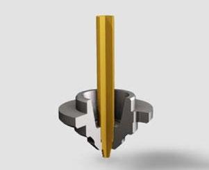 Vereinfachtes Beispiel eines FSW-Robo-Pins in einer stehenden, d.h. nicht-rotierenden Schulter  (SSFSW Tool)