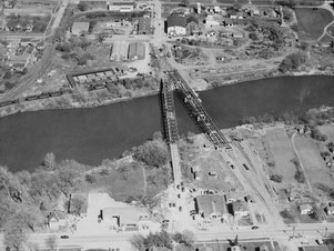 Aerial view of the new bridge on the left beside the old bridge, 11 May 1949