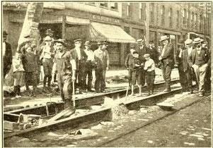 Welding street railway track in Holyoke