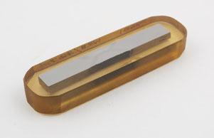Metallographischer Schliff einer von TWIs ersten Rührreibschweißungen von 12% Chromstahl von 1999 im Science Museum