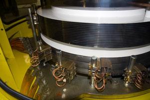 Beispiel eines Schleifrings eines Gleichstromgenerators mit vier Bürstenpaaren