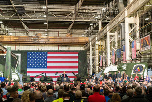 President Donald Trump inspects innovative military vehicles at JSMC in Lima, Ohio