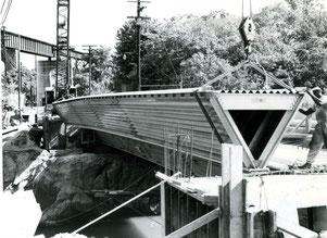 Bau der Aluminumbrücke über  den Appomattox River, Route 36, 24. Juli 1961