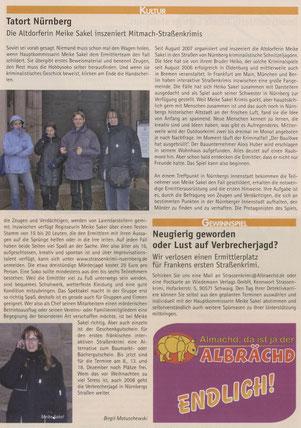 """Zeitungsartikel im Albrächd Nürnberg vom Dezember 2007: """"Tatort Nürnberg - Die Altdorferin Meike Sakel inszeniert Mitmach-Straßenkrimis""""- Quelle: Albrächd Nürnberg"""
