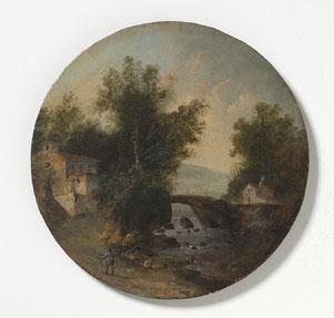 Bélanger Louis, Paysage du Sud avec des randonneurs, Huile sur plaque de fer circulaire, Diam 20,1 cm /  © National Museum Stockholm