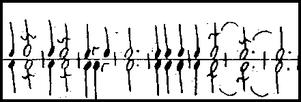 Feuillets Notation mit Gleichberechtigung von rechter und linker Hand