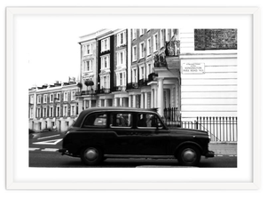 Monochrome London art print 'The Kensington Black Cab' By PASiNGA exclusive ArtHaus collection