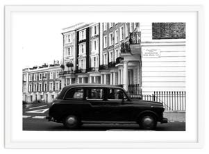Monochrome London art print 'The Kensington Black Cab' By PASiNGA exclusive ArtHaus collection