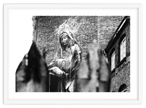 Black and white street art print 'Giving' By PASiNGA exclusive ArtHaus collection