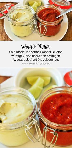 Bild: Rezept für zwei einfache Party Dips: hausgemachte Salsa und Avocado-Joghurt Dressing, perfekt für TexMex Partyfood und als Beilage für Salate oder Brot; gefunden auf www.partystories.de