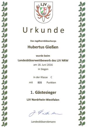 Urkunde Jagdhornbläser Hubertus Gießen
