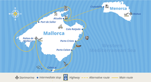 Balearic-Package route map at Yacht-Holiday