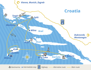 Route plan of dalmatia package with Yacht-Holiday