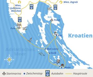 Istrien-Package Routenplan bei YACHT-URLAUB