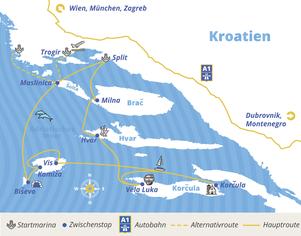 Dalmatien-Package Route bei YACHT-URLAUB