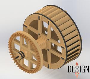 restitution virtuelle d'une roue à augets et de son rouet
