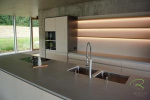 Eventküche, Inselküche in cappucino matt Frotnen, BORA Induktionskochfeld, Blancoculina-S