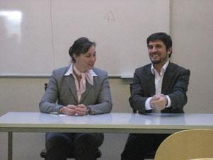 Sylvia Cultus (links) bei einer Podiumsdiskussion im Islamsichen Kulturzentrum mit Dr. Ali Özgur Ösdil
