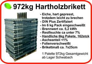 Hartholzbriketts 70mm, 6kg Pakete