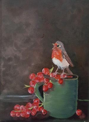 34.Robin...a cup of tea 18x24
