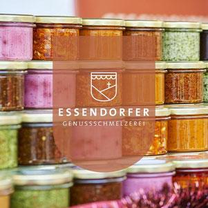 verschiedene Gläser mit Feinkost Pesto der Genussschmelzerei Essendorfer