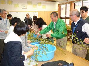 4月15日(土)鳥取大学クロモジ花芽摘み体験の様子。
