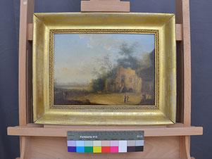 Landschaftsgemälde, niederländisch 18. Jahrhundert, nach der Restaurierung