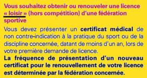 Licence et certificat médical