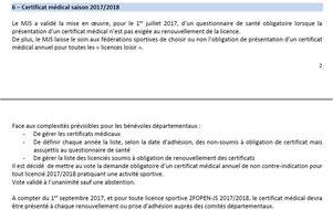 Licence et certificta médical
