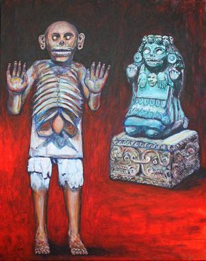 Das Gemaelde zeigt die aztekischen Totengoetter, das Herrscherpaar des Totenreichs: Mictlantecuhtli und Mictlancihuatl.