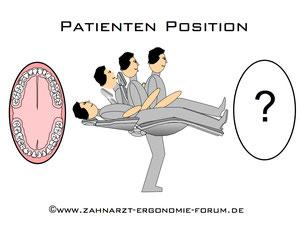 Patientenlagerung Zahnarzt, Patientenposition