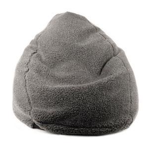 Pouf bean bag en forme de poire en laine naturelle de mouton grise anthracite fabriqué en france