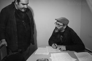 Thanos & I reviewing our music during a rec. session. Photo by Rafa Pasadas