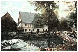 Die Talmühle, auch Ulbrichtsmühle oder Lotzdorfer Grundmühle genannt, um 1901