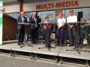 Diskussionsrunde der Poltiker: August Schuler MdL CDU, Klaus Hoher MdL FDP, Maria Heubuch MdEP Grüne, Jürgen Löffler Bodo-Verkehrsverbund, Bürgermeister Andreas Schmid